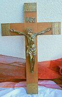 edles schweres holz kruzifix kreuz mit christusfigur aus bronze 50 cm um 1940
