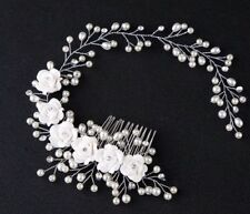 White Vine Flowers Pearls Wedding Bridal Tiara Wreath Headband Communion