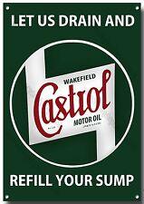 CASTROL LET US DRAIN YOUR SUMP METAL SIGN,RETRO,GARAGE,CASTROL OIL.
