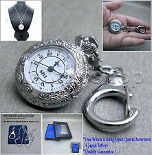 Silver Women Pendant Pocket Watch 2 Ways with Necklace and Key Chain Gift Box 55