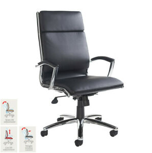 Florence Leather Faced Executive Office Chair In Black High Back Adjustable