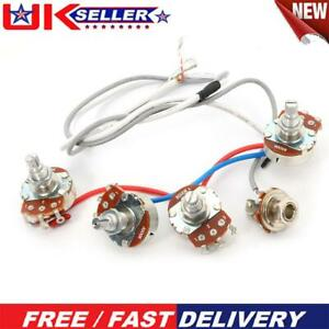 1Set Wiring Harness 2v2t Jack 500k Pots for Replacement LP Electric Guitar UK