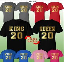 King and Queen Couple Shirt Matching Couple Clothes Valentines Day  T-Shirts