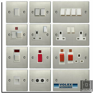 Volex Flat Brushed Stainless Steel Light Switches and Electrical Sockets White