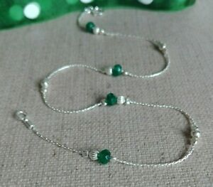 EMERALD ANKLET 925 Sterling Silver chain Ankle Bracelet Birthstone Anniversary