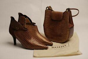 RODO Platinum Italian Leather Tan Ladies Shoes  SIZE 6.5 and Matching Handbag