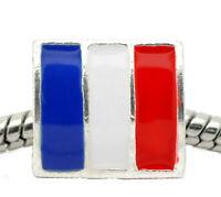 French Flag Red Blue Enamel France Paris Spacer Charm for European Bracelets