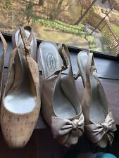 Lot Of 4  Pairs Of sandals size 8  talbots, franco sarto beige black and