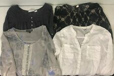Lot of 4 Womens Shirts Size L Long Sleeve Blouse Top Shirt Old Navy HM Express