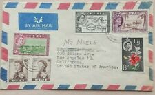 FIJI 1961 AIRMAIL COVER TO UNITED STATES WITH 6 STAMPS MAKING 1/10 RATE