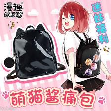 Black Neko Cute Cartoon Anime Cat Ear Fashion School Bag Backpack Shoulder Bag