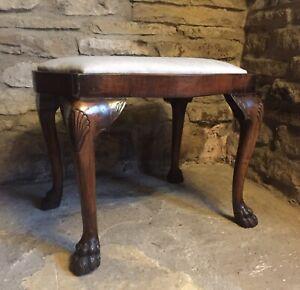 Antique Walnut Claw Dressing Stool