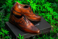 Men Leather Shoes Handmade Brogues Caasual Dress Leather Sole Size 39 To 45