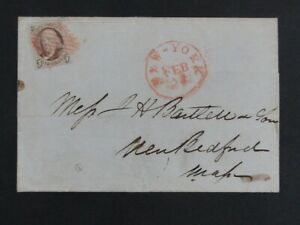Nystamps Old US #1 Stamp Used with red cancel on Cover $525 a17tp