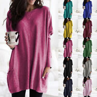 Womens Long Sleeve Tunic Tops Pullover Ladies Loose Pocket Long Jumper Blouse US