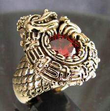 BRONZE RING CELTIC DRAGON RED ORANGE CUBIC ZIRCONIA IRISH SCOTTISH MEDIEVAL