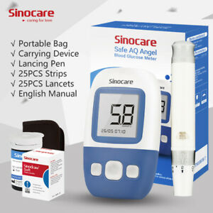 Diabetes Test Kit Blood Glucose Monitor +25 Test strips With Voice-Sinocare AQA