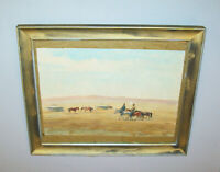 Old Antique Vtg Ca 1900s Watercolor Painting Mongolian Yerts and Horsemen Signed
