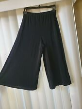 Citi Knits Large Pants Black Stretch Culottes Wide Leg Crop Pull On Sz S