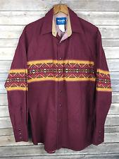 Wrangler Men's Western Shirt Maroon Pearl Snap Button Tribal Cowboy Shirt Sz. M