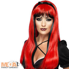 Red Witch Bewitching Wig Ladies Halloween Fancy Dress Womens Devil Costume Wig