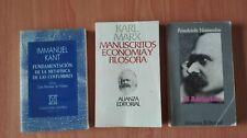 LOTE DE 3 LIBROS DE FILOSOFIA: KANT, NIETZSCHE Y MARX