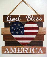 Patriotic 4Th Of July ''God Bless America'' Wood Laminate Hanger. Slat Style. He