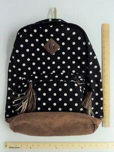 Black White Polka Dot Back Pack Tote Bag Purse -  FLASH SALE