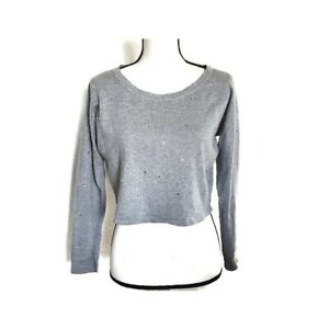 H&M French Terry Knit Rhinestone Crop Crew Sweater Women's Pullover Top