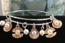Sea shells & pearls /Ocean - Rose Gold charm Expandable Bangle Bracelet