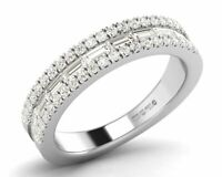 0.75carat Round Brilliant and Baguette Cut Diamond Half Eternity Ring in 9K Gold