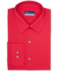 John Ashford Men's Regular-Fit Easy Care Dress Shirt, Solid Red, 17.5, 34/35