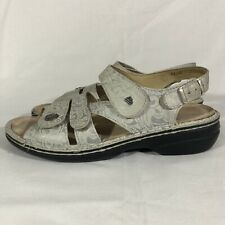 FINN COMFORT Womens 3 Strap Slingback Sandals 38 US 7.5 - 8 Silver Leather