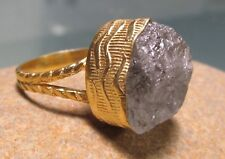 Gold plated brass rough tourmalated quartz stone ring UK M¾-N/US 6.75