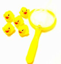 PACK OF 5 RUBBER DUCKS WITH NET BATH TIME FUN TOYS PLAY FISHING