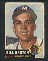 1953 Topps #214 Bill Bruton VG/VGEX RC Rookie Braves UER 80114