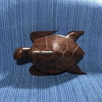 Vintage Wood Hand Carved Sea Turtle Figurine