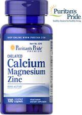 Chelated Calcium Magnesium Zinc 1000 mg 400 mg 25 mg 100 Caplets Puritan's Pride