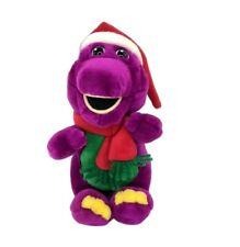Barney the Purple Dinosaur Plush Stuffed Toy Santa Hat & Scarf Christmas Holiday