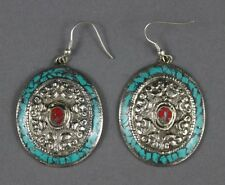 Nepal Tibetan Silver Etched Earrings with Turquoise Nugget Mosaic USA SELLER