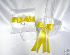 Elegant Yellow Flower Girl Basket Ring Bearer Pillow