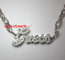 GUESS Exclusive Pave Logo Necklace Collier Rhinestones Silver Tone Gift Pouch