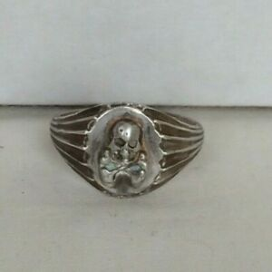 VTG Sterling Silver Scull and Bones ring size-12      60