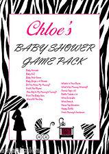 Juego Completo Pack En Cd   Pink Zebra   Personalizado Baby Shower Juegos   favor Tag