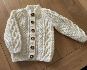 Babies Hand Knitted Aran Pattern cardigan 3/6 Months