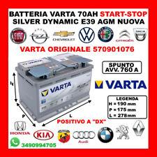 BATTERIA AUTO START&STOP VARTA SILVER DYNAMIC AGM E39 70AH 760A 12V NUOVA 2