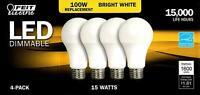 FEIT 100 Watt Replacement Dimmable Led Bulbs 3 pack OPEN BOX