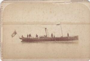 OLD VINTAGE CABINET PHOTO STEAM SHIP STEAMER SAILOR UNIFORM GRAVESEND KENT BX1