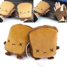 1Pair Toast USB Hand Warmers Heating Gloves Cute Half Wearable Fingerlesss