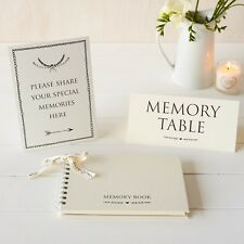 A5 Luxury Ivory Memory Book & 2 Signs Set - Funeral, Condolence Book, Memorial